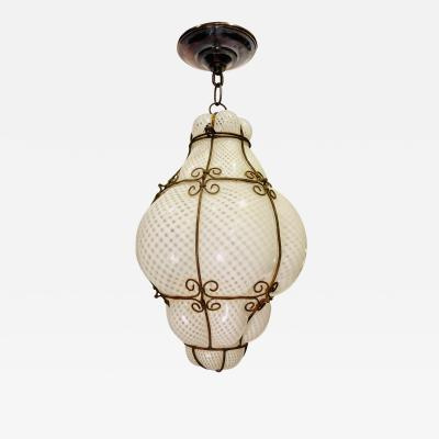 Murano Glass Lantern with Iron Frame