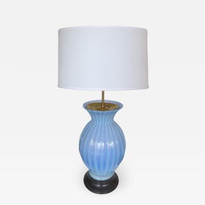 Murano Glass Mid Century Modern Blue Murano Glass Table Lamp by Marbro