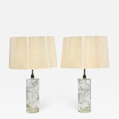 Murano Glass Pair Italian Modern Hand Blown Glass Table Lamps Murano 1950s