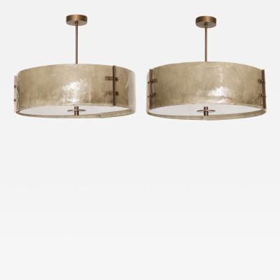 Murano Glass Patinated Brass Drum Chandelier