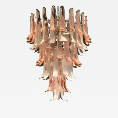 Murano Glass Pink and White Petals Chandelier Italian Modern 1980s