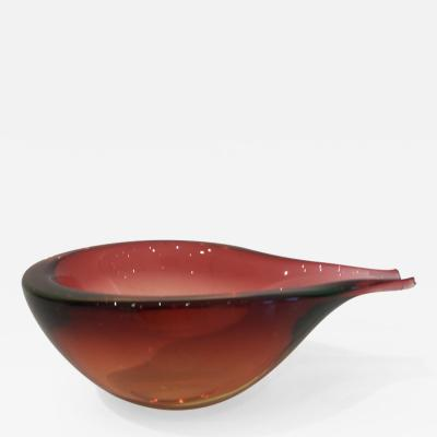 Murano Glass Red Pear Shaped Bowl