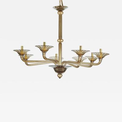 Murano Glass Rigadin Smoky Brown 1970s Italian Chandelier with 8 Arms