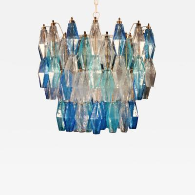 Murano Glass Sapphire Colored Poliedri Chandelier in the Style C Scarpa