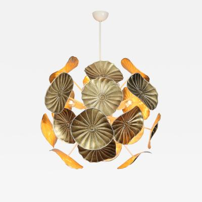 Murano Glass Urchin Chandelier with Gold Leaf