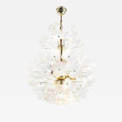 Murano Glass and Brass Hibiscus Chandelier Italy 1950s