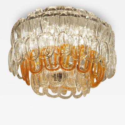Murano Interlocking Glass Chandelier Italy 1970s
