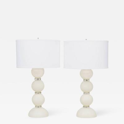 Murano Ivory Glass Pair of Lamps