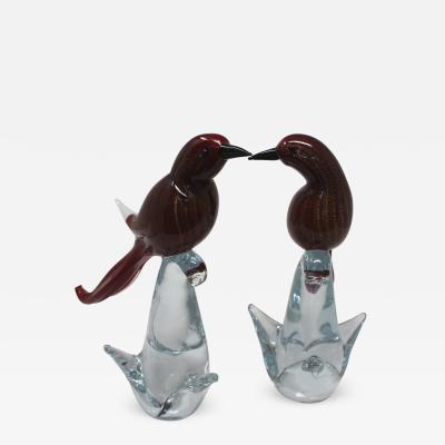 Murano Luxury Glass Pair of Redbirds by Murano Luxury Glass