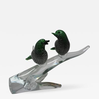 Murano Luxury Glass Two Birds on a Branch