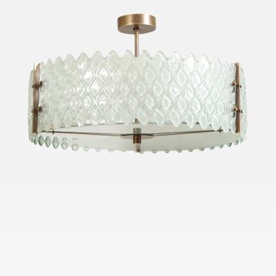 Murano Pearlized White or Frosted Glass and Bronze Round Chandelier Italy 2020