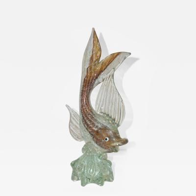 Murano Sommerso Amber and Silver Flecks Art Glass Fish Sculpture