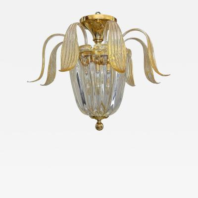 Murano glass clear leaves pendant light with 24k gold flecks
