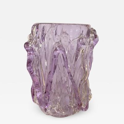 Murano glass drizzle motif vase