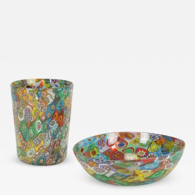 Murrine bowl and glass from Murano 50s