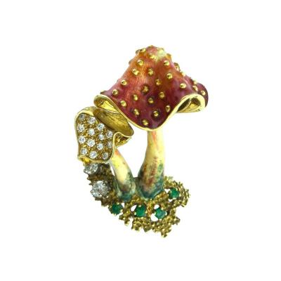 Mushroom Couple Enamel Emerald Diamond Gold Brooch