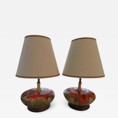Mutual Sunset Lamp Co Magnificent Pair of Orange Oversized Squatty Danish Lava Drip Glaze Lamps Modern