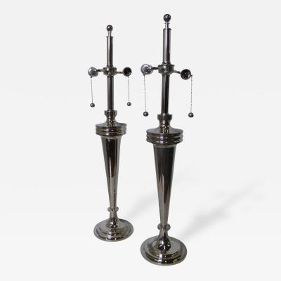 Mutual Sunset Lamp Co Pair of Art Deco Nickel Chrome Mutual Sunset Table Lamps