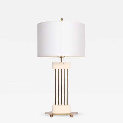 Mutual Sunset Lamp Co Parzinger Style Mutual Sunset White Enamel Brass Spindle Table Lamp 1950s