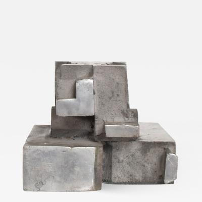 Myrna M Nobile Mid Century Modern Cast Aluminum Brutalist Sculpture by Myna N Nobile 8