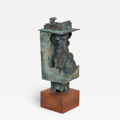 Myrna M Nobile Myrna Nobile Brutalist Nude Bronze Sculpture Walnut Platform 1960s Calif