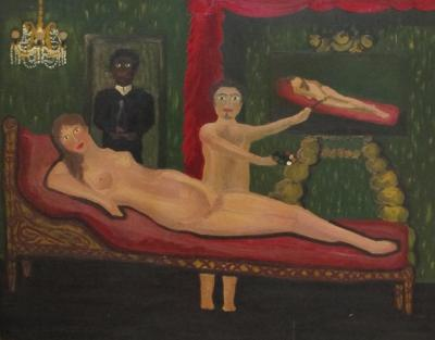 Mysterious Painting of Nude Reclining Woman and Artist