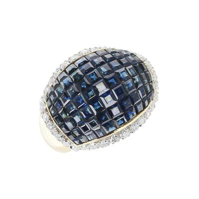 Mystery Set Blue Sapphire and Diamond Bombe Cocktail Ring 18 Karat Yellow Gold
