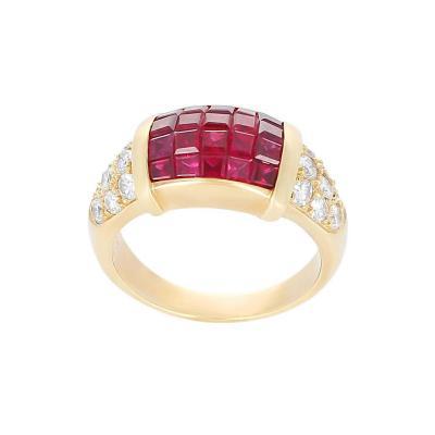 Mystery Set Ruby and Diamond Ring 18 Karat Yellow Gold