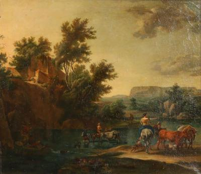 N Berchem Original Signed Flemish Oil on Canvas Painting River Crossing with Cattle
