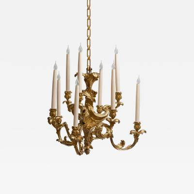 NINE ARM ROCOCO GILT BRONZE FINELY INCISED CHANDELIER