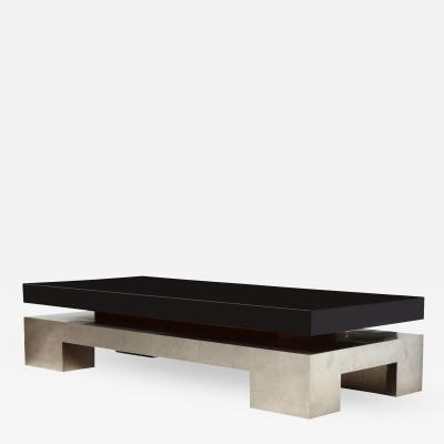 Nadine Charteret Black Lacquer and Chrome Low Table by Nadine Charteret France c 1970