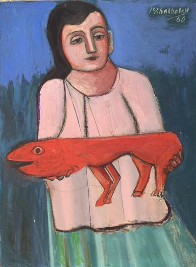 Nahum Tschacbasov Woman with Red Dog