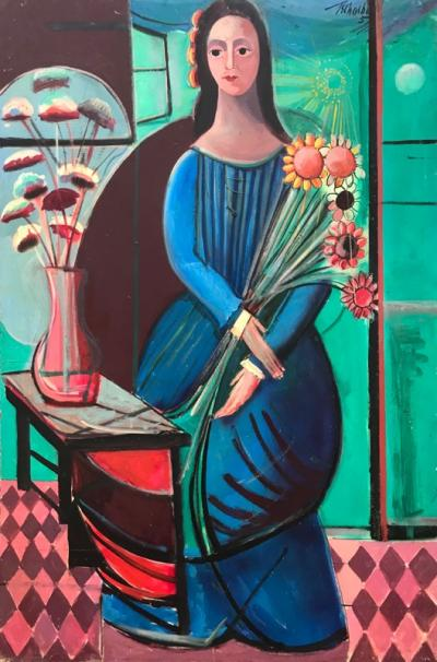 Nahum Tschacbasov Woman with Sunflowers