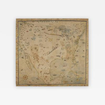 Naive Map of America Crayon or Pastel on Muslin