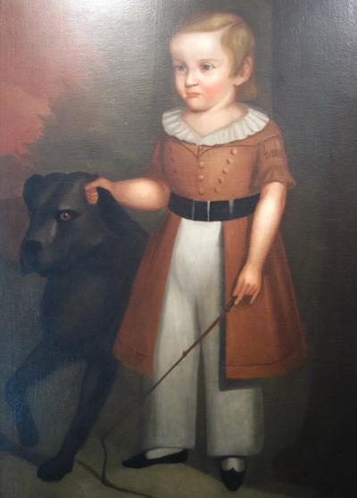 Naive Portrait of a Boy and his Dog