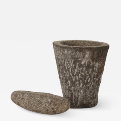 Naive stone mortar and pestle France early 1900s