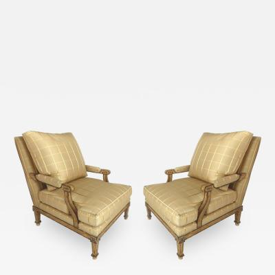Nancy Corzine Nancy Corzine Neoclassical Fauteuil Armchairs with Silk Upholstery and Down