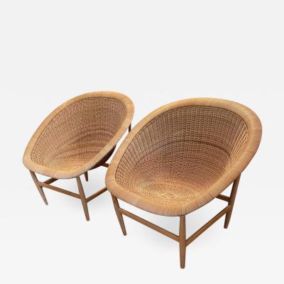 Nanna Ditzel Pair of Danish Modern Nanna Ditzel Iconic Basket Chairs 1950s