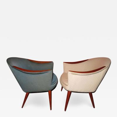 Nanna Ditzel Wonderful Pair Danish Scoop Lounge Chairs in the Style of Nanna Ditzel