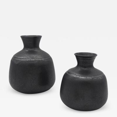 Nanni Valentini Pair of Black Vases for Ceramica Arcore 1970s