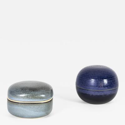 Nanni Valentini Pair of Glazed Stoneware Lidded Boxes