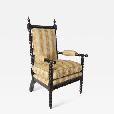 Napoleon III Bobbin Turned Ebonized Chestnut Armchair