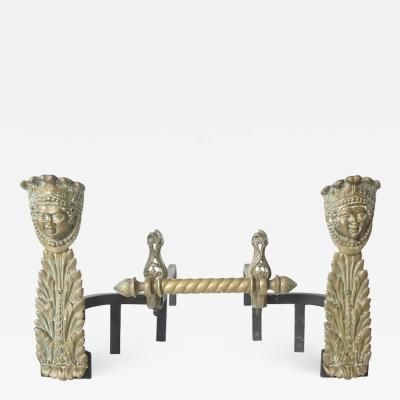 Napoleon III Bronze and Iron Andirons