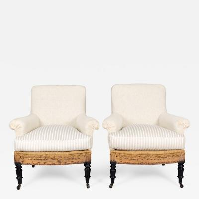Napoleon III Cushioned Armchairs A Pair