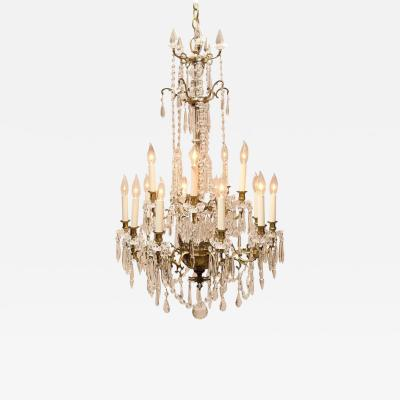 Napoleon III Fifteen Light Gilt Brass and Crystal Chandelier