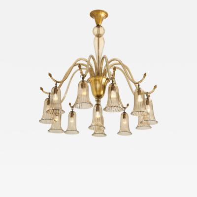Napoleone Martinuzzi 12 Light Chandelier by Napoleone Martinuzzi for Venini