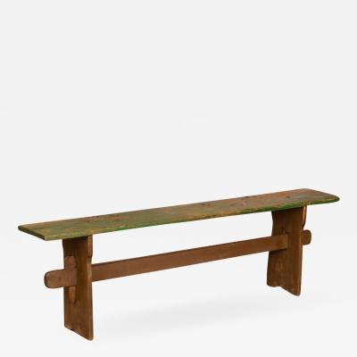 Narrow Antique Green Painted Pine Bench