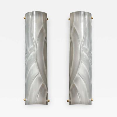 Narrow Pair of Translucent White Textured Murano Glass and Brass Sconces Italy