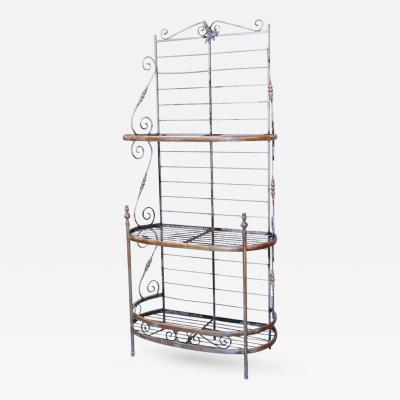 Narrow Wrought Iron and Brass Bakers Rack