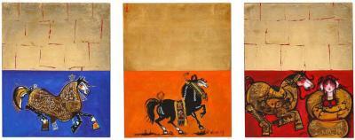 Nasser Ovissi Arabian Horses Triptych Oil on Canvas